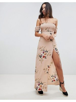 Girl In Mind floral bardot maxi dress-beige