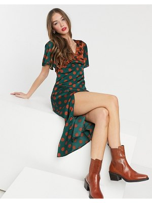 Girl In Mind flutter sleeve midi dress with thigh slit contrast polkadot-multi