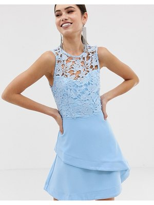 Girl In Mind crochet top skater dress-blue