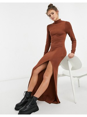 Girl In Mind knitted high neck maxi dress with thigh split in rust-orange