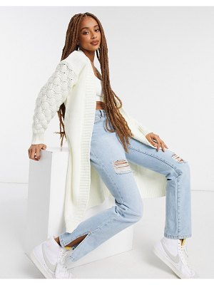Girl In Mind knitted sleeve detail maxi cardigan in cream-white