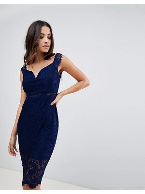 Girl In Mind off the shoulder lace dress-navy