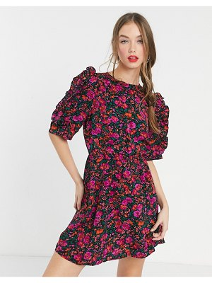 Girl In Mind puff sleeve mini skater dress in pink floral print-multi