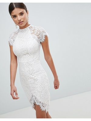 Girl In Mind Scallop Lace Dip Hem High Neck Bodycon Dress
