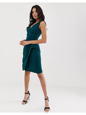 Girl In Mind v neck wrap midi dress-green
