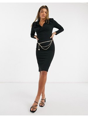Girl In Mind wrap detail midi pencil dress with gold belt detail in black-green