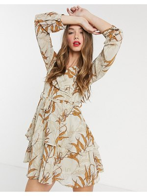 Girl In Mind wrap-front tiered skater dress in tan leaf print-multi