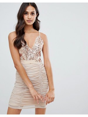 Girls on Film strappy bodycon dress with sequin detail-pink