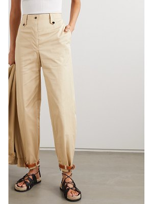 Giuliva Heritage net sustain space for giants the denys leather-trimmed cotton-blend pants