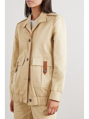 Giuliva Heritage net sustain space for giants the finch leather-trimmed cotton-blend jacket