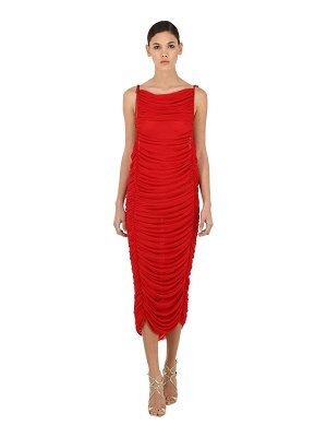 GIUSEPPE DI MORABITO Sleeveless ruched tulle long dress
