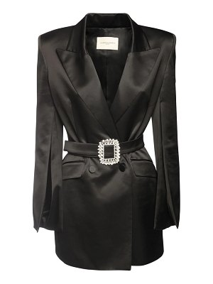 GIUSEPPE DI MORABITO Wool blend satin jacket dress w/ belt