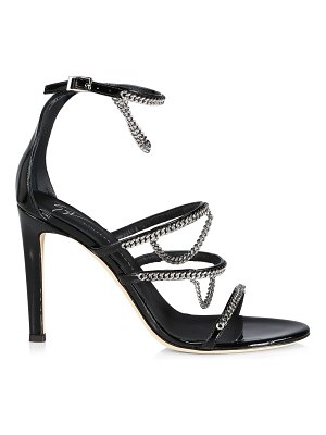 Giuseppe Zanotti chain-trimmed pantent leather sandals
