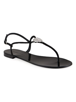Giuseppe Zanotti Suede Crystal Thong Sandals