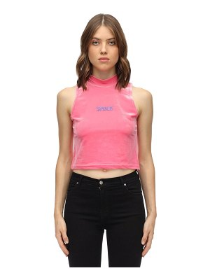 GIVE ME SPACE Space cotton blend velvet top