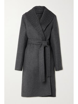 Givenchy belted intarsia wool, cashmere and silk-blend coat