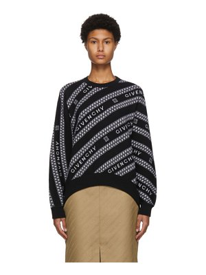 Givenchy black and white chain logo jacquard sweater