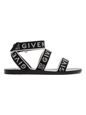 Givenchy black and white logo strap sandals