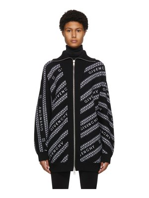 Givenchy black wool chain zip sweater