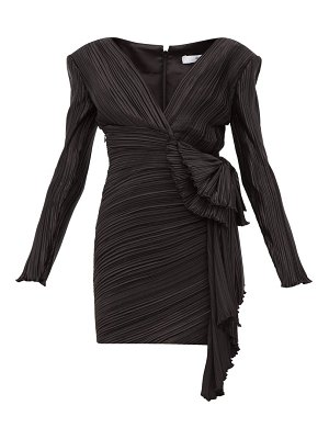 Givenchy bow embellished plissé satin mini dress