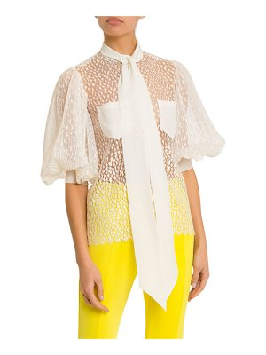 Givenchy Button Front Pleated Sleeve Blouse