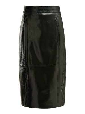Givenchy buttoned back high rise leather pencil skirt