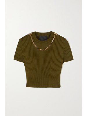 Givenchy chain-embellished cropped ribbed jersey t-shirt