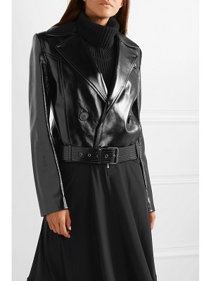Givenchy cropped double-breasted glossed-leather biker jacket