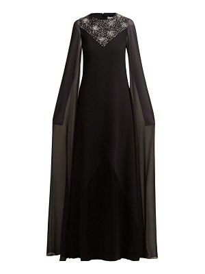 Givenchy crystal embellished wool and silk chiffon gown