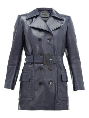 Givenchy double breasted belted leather coat