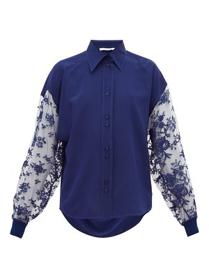 Givenchy floral-lace silk-crepe blouse