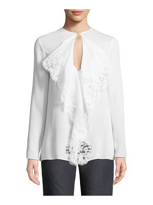 Givenchy Flowy Lace Tie-Neck Blouse