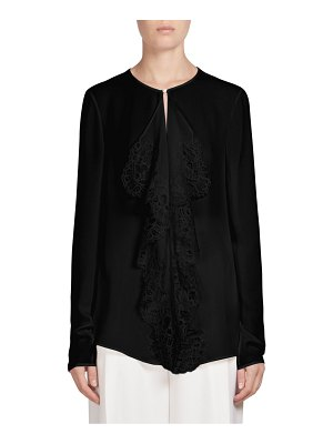 Givenchy Lace-Trimmed Silk Top