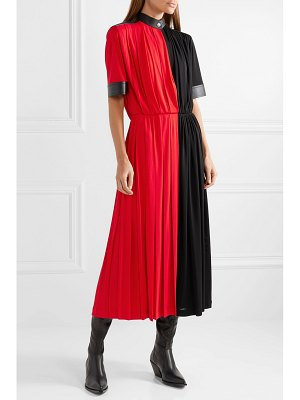 Givenchy leather-paneled pleated stretch-jersey midi dress