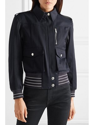 Givenchy leather-trimmed cotton-twill jacket