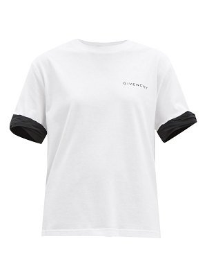 Givenchy logo-print contrast-cuff cotton t-shirt