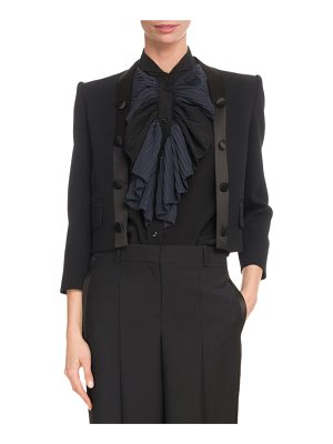 Givenchy Long-Sleeve Crop Wool-Crepe Jacket w/ Satin Lapel