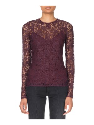 Givenchy Long-Sleeve Lace Illusion Blouse