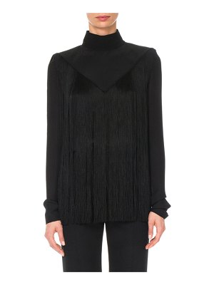 Givenchy Long-Sleeve Mock-Neck Fringe Silk Blouse