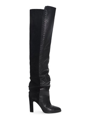 Givenchy mayfair suede & snakeskin-embossed leather boots