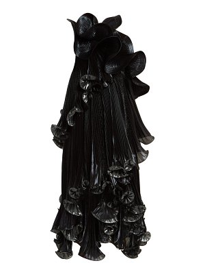 Givenchy one shoulder ruffled lurex silk blend dress