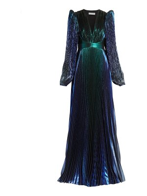 Givenchy pleated lamé puff-sleeve gown