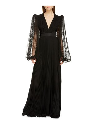 Givenchy plumetis tulle long sleeve pleated gown