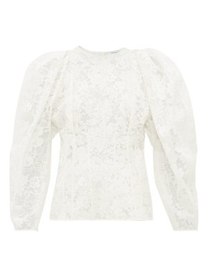 Givenchy puff-sleeve cotton-blend chantilly-lace top