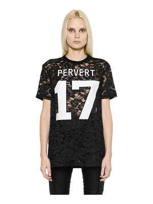 Givenchy Rubberized patches on viscose lace top