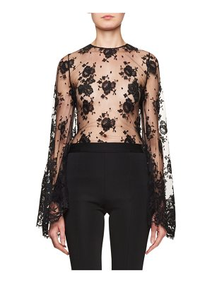 Givenchy Sheer Lace Bell-Sleeve Blouse