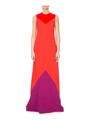 Givenchy Sleeveless Colorblocked Crepe Gown