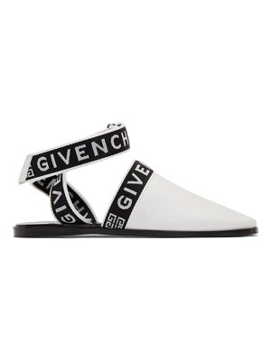 Givenchy white ankle strap mules
