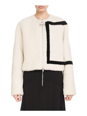 Givenchy Zip-Front Large G Logo Lamb Shearling Jacket