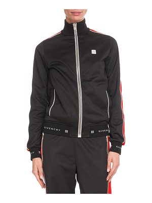 Givenchy Zip-Front Velvet Side-Stripe GG-Logo Tech Jersey Track Jacket